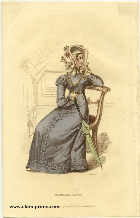 Carriage Dress. 1820s FASHION) Read, William (engraved by). Softcover Etching / engraving with stipple engraving, handcolored, sheet size 9 x 5 1/2 inches. Clean and bright condition; adhesive tape from previous matting