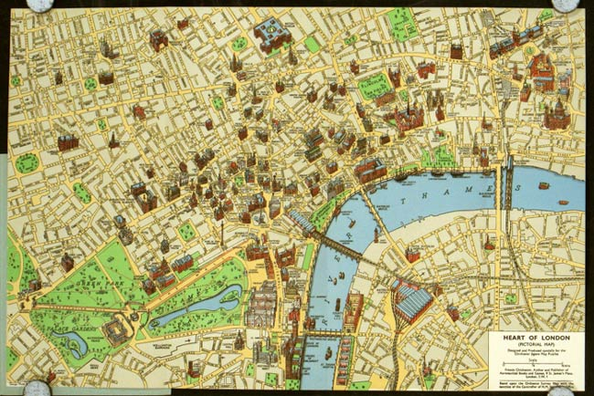 Heart Of London A Coloured Picture Map Showing 175 Of London S Famous And Historic Buildings Map Title Heart Of London Pictorial Map By England London 1940 Map Old Imprints Abaa Ilab