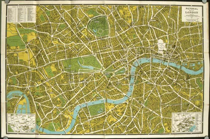 The New Pictorial Map Of London Map Title Pictorial Map Of - London map 1945