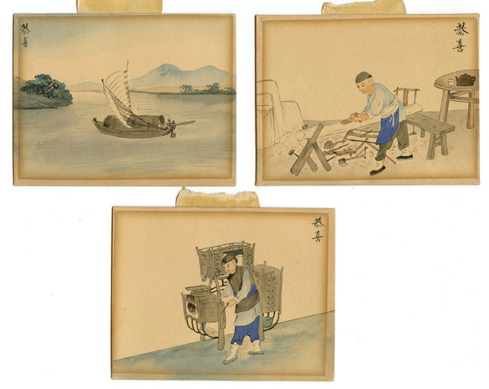 Untitled Chinese watercolor paintings. Set of three. CHINA - TRADES)