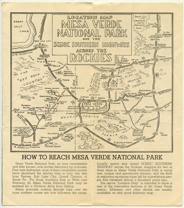Map and Guide to Mesa Verde National Park. ...