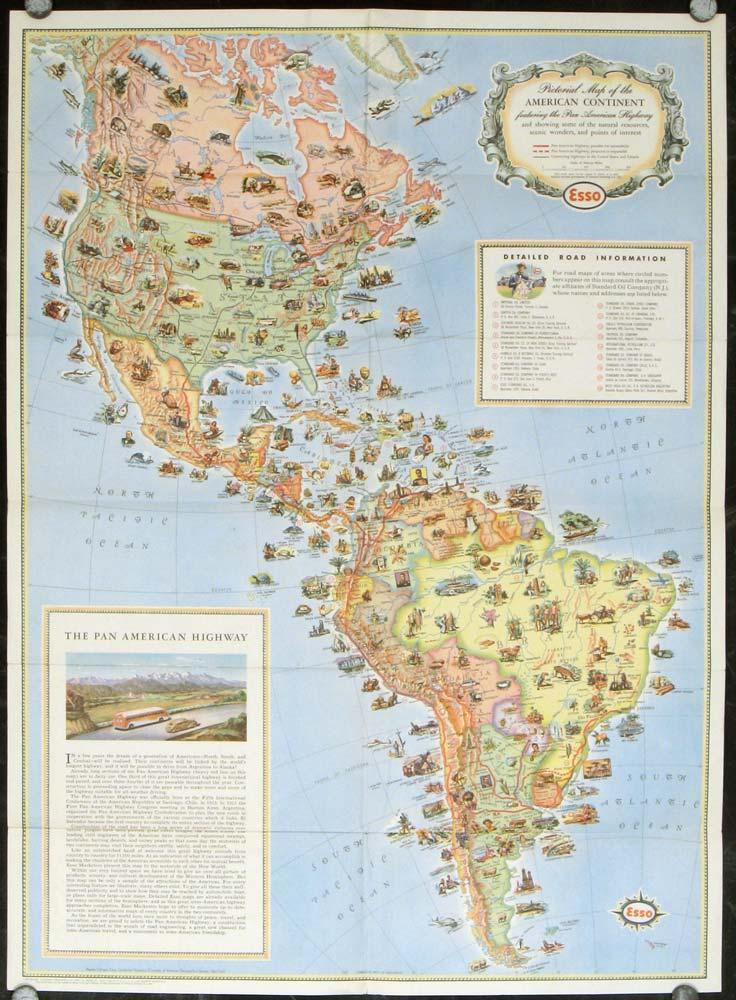 Pictorial Map of the Americas featuring The ...