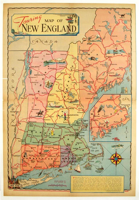 Old New England Map.Touring Map Of New England By New England Sundberg Edwin L