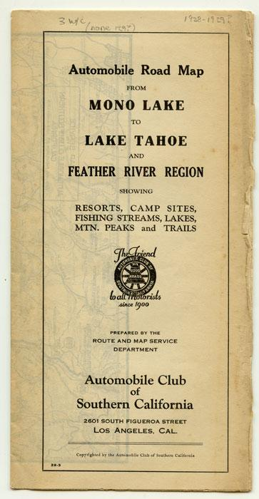 Automobile Road Map from Mono Lake to Lake Tahoe and Feather River Region. CALIFORNIA - ROAD MAP)
