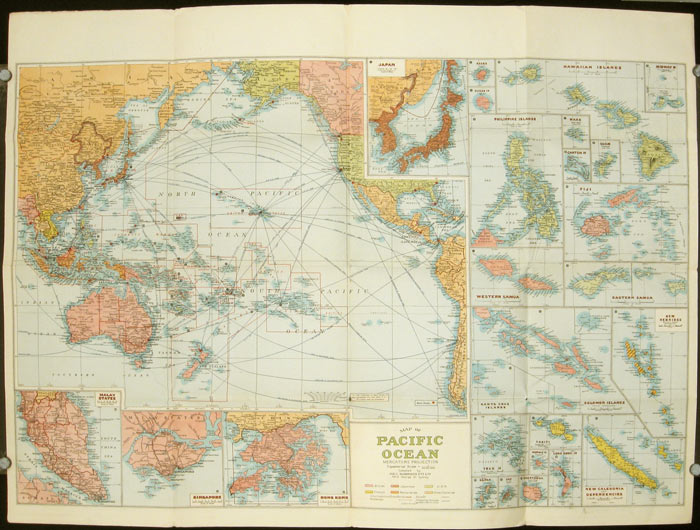 The New Map Of The World.Pacific Ocean Robinsons New Map Of The