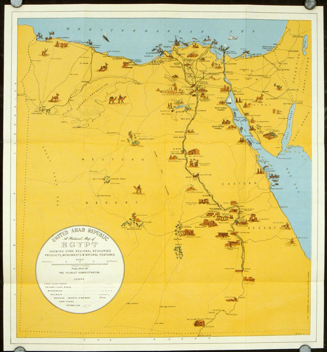 Welcome to Egypt U. A. R. Map title: United Arab Republic. A Pictorial Map of Egypt Showing Some Regional Resources Products, Monuments & Natural Fea
