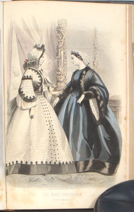 Peterson's Magazine. 1861. FASHION PLATES) Softcover Bound volume of Peterson's Magazine from 1861, 12 hand-colored fashion plates, black and white illustrations, color patterns, iv + 510 + iv + 488pp, 9