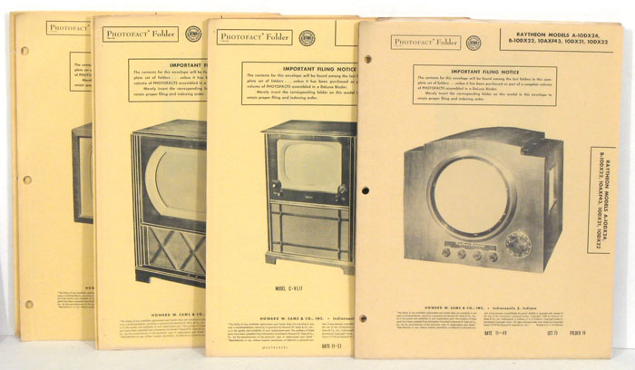 Sams' Photofact Folders. TV SCHEMATICS/REPAIR MANUALS) [ ]   A collection of 11 Sams Photofact Folders (Schematics/Repair Manuals) for various TV models produced between 1949 and 1955. Several of the folders have holes for ring binding. Sams Publishing dates from 1946; these manuals were produced during the company's early years. There are three folders for 1949 televisions (Raytheon, Air King, Stewart-Warner); four folders for 1951 televisions (Andrea, Firestone, Hallicraftrs, General Electric); two for 1952 televisions (Fada, Truetone); two for 1955 televisions (Silvertone, General Electric). The folders and contents are in good, clean condition and reflect the pioneer years of commercial television manufacturing.