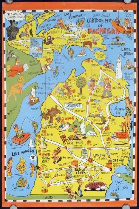 Fun Map Michigan The Upper Peninsula Map Title Larry Smith S