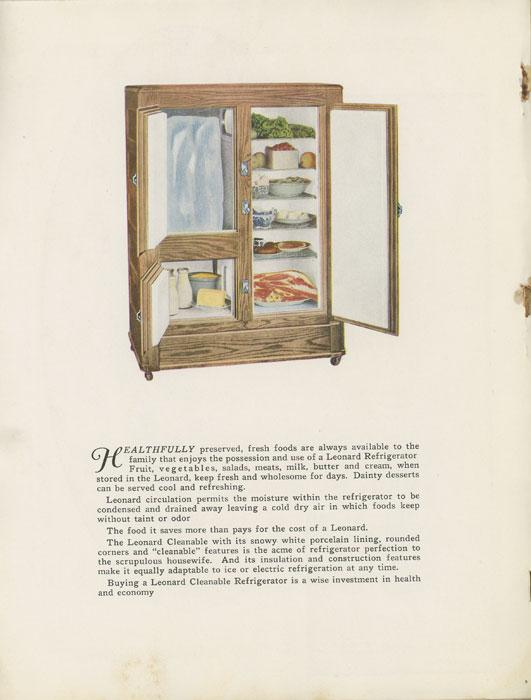 Leonard Cleanable Refrigerators. APPLIANCES - REFRIGERATORS) Softcover Illustrated catalog, 10 ¾ x 8 ½, 72 pp., color pictorial card wrappers, picturing and describing a variety of Leonard Refrigerators, all of them req
