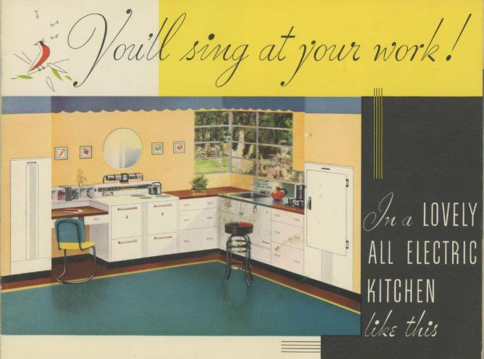 You'll Sing At Your Work! APPLIANCES - STOVES & REFRIGERATORS) [ ] [Couverture souple] Am attractive color catalog, 8 ¼ x 11 inches, 20 pp., depicting floor plans for a  scientifically  designed kitchen (three  centers  anchored by fridge, range, or sink) with five different  model electric kitchens  illustrated in color. One page shows  bleed-through  from black ink used in printing the verso. Overall very good clean condition, The message printed at the top of one page says it all:  Now Electricity Makes Women Free.  An engaging booklet illustrating  state of the art  electric kitchens circa 1935.