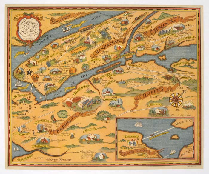 Historical Map of New York City. NEW YORK - NEW YORK CITY)