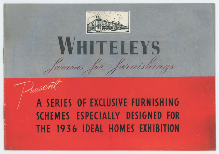 Whiteleys  Famous for Furnishings . DECO HOME FURNISHINGS) Softcover Booklet 6 1/2 x 9 1/4 inches; 12 pp including covers, featuring 11 illustrations of home furnishings with an emphasis on bedrooms and lounges (living