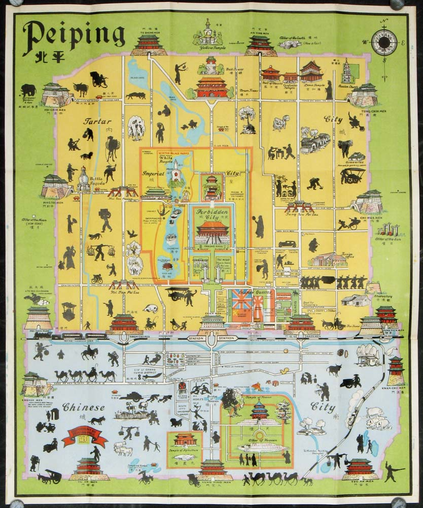 A Pictorial Map of Peiping in full colours. Map title: Peiping. CHINA - BEIJING) Sewall, John Kirk (illus).