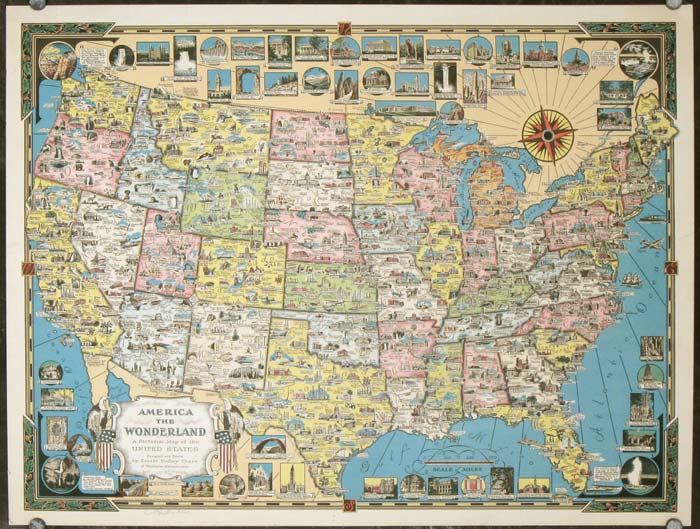 Map Of America 52 States.America The Wonderland A Pictorial Map Of