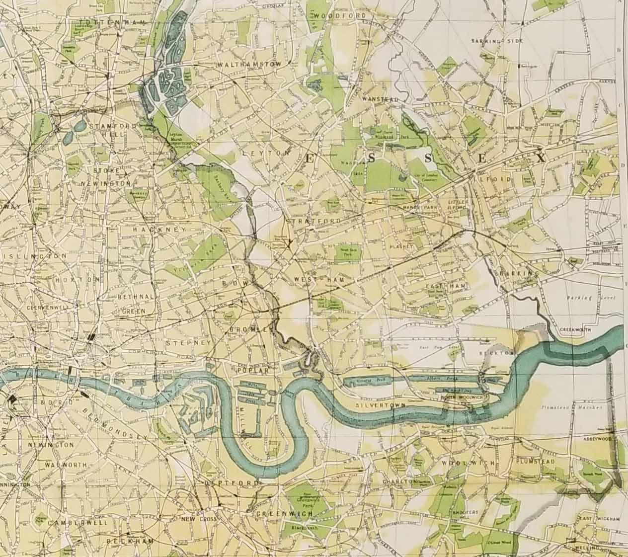 Map Of London And Surrounding Suburbs.Bacon S Gem Map Of London And Suburbs