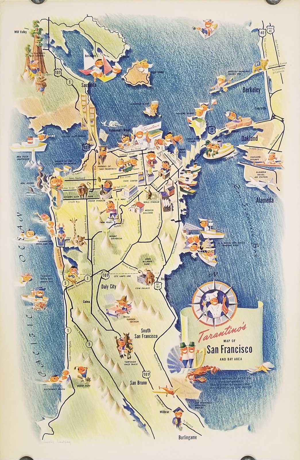 Lindsay California Map.Tarantino S Map Of San Francisco And The Bay Area By California