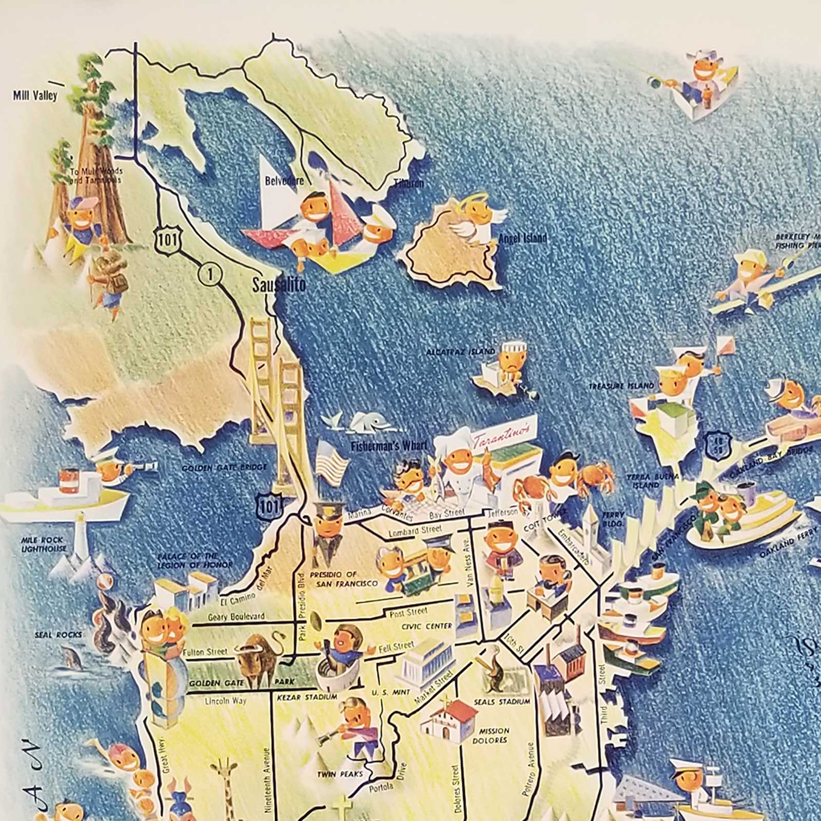 Picture of: Tarantino S Map Of San Francisco And The Bay Area By California San Francisco Lindsay Charlie Mapmaker 1950 Map Old Imprints Abaa Ilab