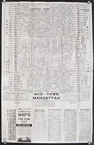 New Norman's Simplified Maps of New York City. The Standard Visitor's Guide. Mid-town, Manhattan ...