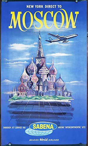 New York Direct to Moscow. Through Jet Service via Sabena Boeing 'Intercontinental