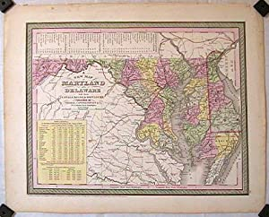 A New Map of Maryland and Delaware with their Canals, Roads & Distances.