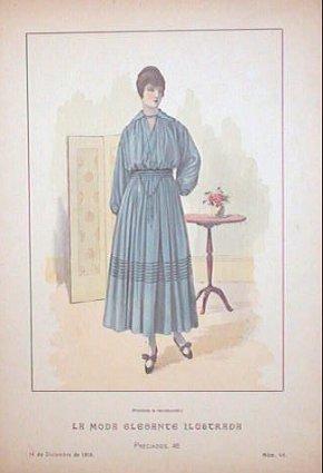 Hand color lithograph from La Moda Elegante: 1910s FASHION)