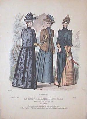 Hand color lithograph from La Moda Elegante: 1890s FASHION)