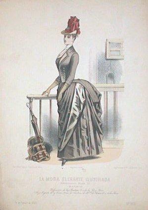 Hand color lithograph from La Moda Elegante: 1880s FASHION)