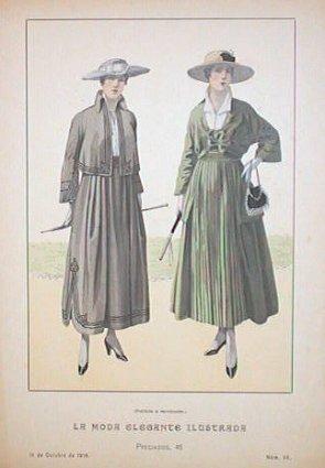 Hand color lithograph from La Moda Elegante: 1910's FASHION)