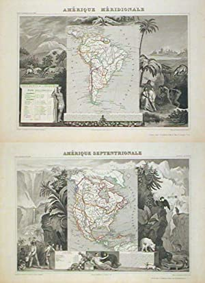 Amerique Septentrionale TOGETHER WITH Amerique Meridionale. (North America & South America).