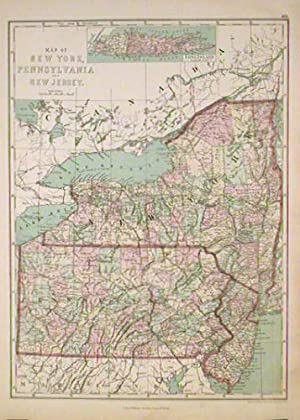 Map of New York, Pennsylvania and New Jersey.