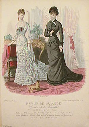 Hand colored fashion engraving from Revue de: 1870s FASHION)