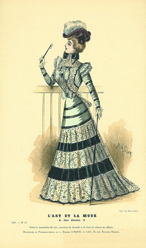 Hand colored fashion lithograph from L'Art et: 1880s FASHION) Solar,