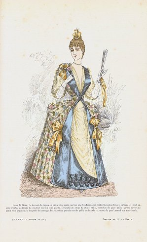 Hand colored fashion engraving from L'Art et: 1880s FASHION) Billy,
