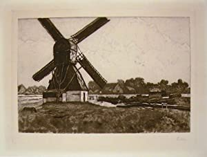 Etching of a windmill in rural landscape.
