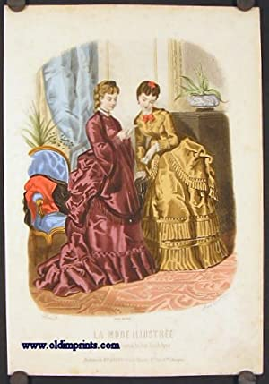 Hand colored engraving from La Mode Illustree.: 1870s FASHION) Toudouze,