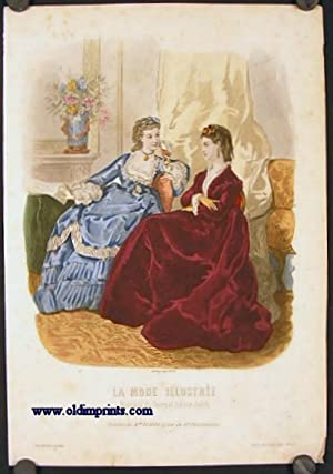 Hand colored engraving from La Mode Illustree.: 1870s FASHION)