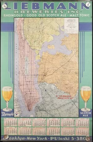 Liebmann Breweries Inc. Calendar for 1934. Map of Manhattan, Principal Sections of Bronx - Queens...