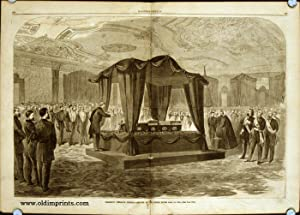 President Lincoln's Funeral Service at the White House, April 19, 1865. IN COMPLETE ISSUE OF HARP...