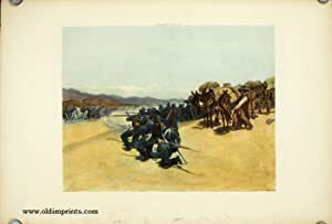 Quartermaster's Department. Train of Pack Mules Attacked by Mexican Cavalry, 1847.