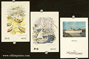 S. S. Himalaya. / Feluccas in Red Sea. / Fishing Boats - Portugal. THREE MENUS.