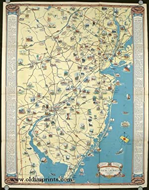 Road Map and Historical Guide. New Jersey. Map titles: Historical Pictorial Points of Interest Ma...