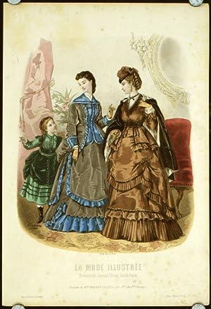 Hand colored engraving from La Mode Illustree.: 1870s FASHION) Leloir,
