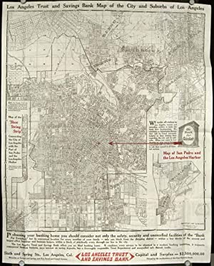 Los Angeles Trust and Savings Bank. Map of Los Angeles City also a District Map showing Automobil...