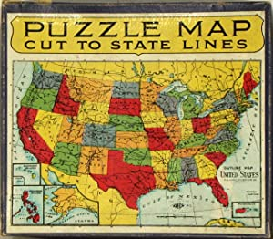 Puzzle Map Cut to State Lines. (Title: UNITED STATES /
