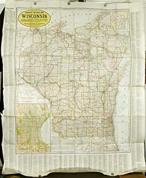 New Commercial and Census Map of Wisconsin Showing Counties in Different Colors - Townships, Citi...