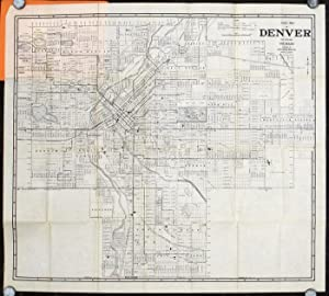 Map of Denver Showing Car Lines - Bus Routes - Index of Streets - Parks. Map title: Guide Map of ...