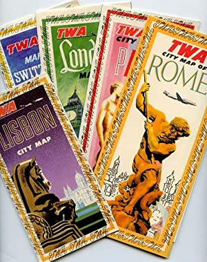 TWA City Map of Rome / TWA City Map of Paris / TWA London Map / TWA Maps of Switzerland Zurich an...
