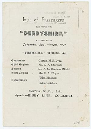 List of Passengers--S.S. Derbyshire