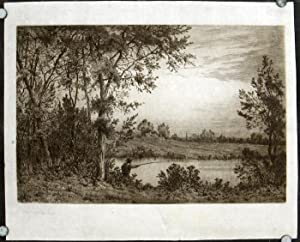 Untitled etching of man fishing in a pond.